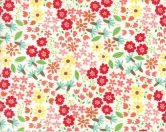 Floral on Milk White from Moda's Farm Fun Collection by Stacy Iset Hsu