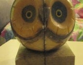 Vintage Retro Hand Carved Italian Alabaster Owl Bookends Italy Mid-Century Mod
