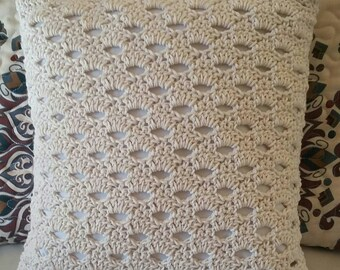 Cream Cotton Crochet  Pillow Cover