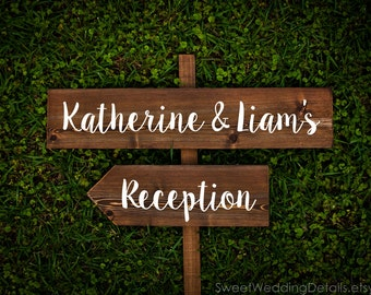 Rustic Wedding Signs, arrowed directional sign with names