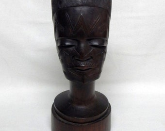 Sale Vintage African Tribal Sculpture Art Carved Wood Head Bust of a Warrior Man Home Decor
