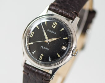 Black men's watch Sekonda, vintage wristwatch shock resist, gent's watch dust protected, black silver unisex watch,premium leather strap new