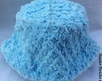 Baby Blue Faux Fur Unisex Bucket Hat | Sky Blue Faux Fur Hat | Pillbox Hat | Winter Hat by Hamlet Pericles