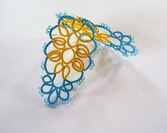 Tatting Lace Earrings-dangle earrings-gift for her- party cocktail-gift for birthday-vintage style-lace earrings-blue earrings-OOAK