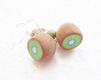 Kiwi Fruit Earrings. Polymer Clay