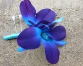 Purple blue orchid corsage, galaxy orchid, boutonniere, wedding corsage, prom