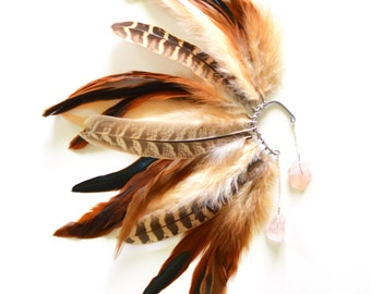 Feather Ear Cuff, Feather Ear Wrap, Festival Feathers, Festival Earrings, Ear Cuff