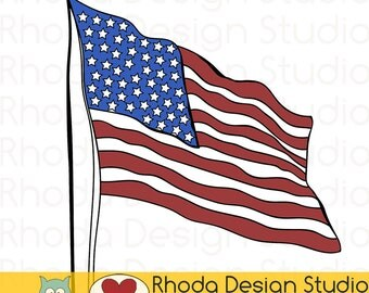 American Flag Old Glory Stamp Digital Clip Art Retro