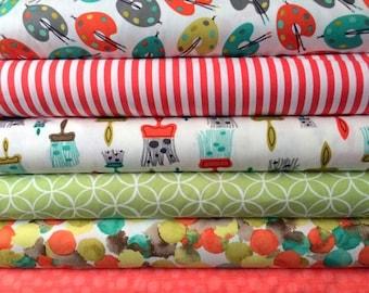 Fabric bundle for quilt or craft Michael Miller Painting bundle 6 Half yards