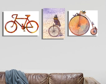 Wanderlust.Fashion bicycle,vintage owl and  bicycles,3 canvases watercolor,ancient history,warm and golden color, modern home decor