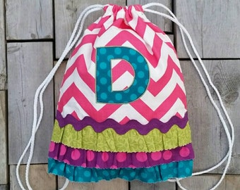 """SALE! Personalized Drawstring Ruffle Backpack with """"D"""" Monogram - Childrens Backpack - Kids Backpack - Pink Chevron - Ready to ship"""