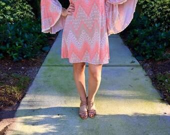 printed bell sleeved Dress