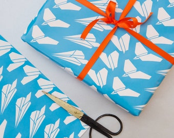 Paper Planes Gift Wrap - Wrapping Paper - airmail - birthday gift wrap - fathers day gift - gift wrapping paper - gift wrapping