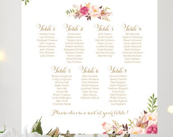 Wedding Seating Chart | By Table | Various Sizes | Vintage | Antique Gold | Romantic Blooms | I Create and You Print