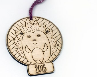 SALE Hedgehog Ornament Yarn and Knitter, Christmas 2015 Laser Cut Wood