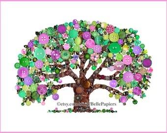 8x10 Button Art Tree of Life Button Art with Swarovski Rhinestones Button Oak Tree Family Tree Family Heirloom Genealogy heritage