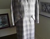 NOS Vintage Sportleigh Grey Plaid Full Length Button Down Fully Lined Wool Cocoon Coat Medium (M)