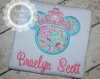 Minnie Mouse Applique Shirt - Disney Trip - Vacation - Birthday Shirt