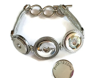 Three Bezel Interchangeable Bracelet Base Works With DIY Snaps Make with a Tecre 1 Inch Button Machine - Snap Jewelry- Oh Snap - boho