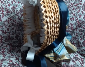 SALE - Fancy Straw Plait Soft Crown Bonnet with Blue and Yellow Silk - Civil War Era -  by Anna Worden Bauersmith