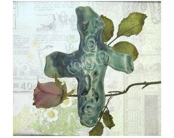 Cross,  Wall Cross,  Home Decor Cross,  Ceramic Cross , wall art -  # 137