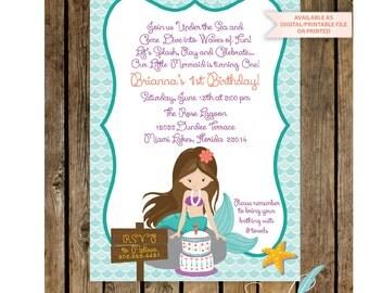 MERMAID  INVITATION  - Mermaid Birthday- Little Mermaid - Mermaid Invitation Under the Sea - Invitation Mermaid Birthday Party Purple Teal