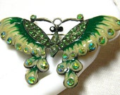 RESERVED FOR fmartin3780 Amazing Butterfly Brooch in Stunning Shades of Green Enamels and Crystal Rhinestones