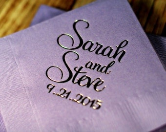 wedding napkins beverage napkins foil personalized napkins wedding