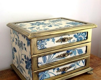 Refurbished Vintage Hand Painted  Large French Style Fabric/ Wooden Jewelry Box