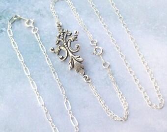 Silver Bracelet Set, Fleur De Lis Bracelet, victorian, stacking bracelets, sterling silver, bridal, 3, weddings, chain