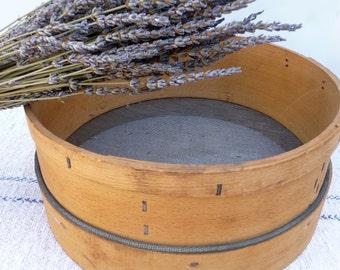 Vintage Sifter Grain Flour Sifter Sieve Strainer Screen Farmhouse Kitchen Primitive Rustic Wood Bowl