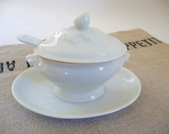 Vintage French Sauce Boat Gravy Boat Covered Sauciere White French Ironstone Small Tureen With Ladle
