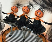 Dancing Pumpkins , Halloween decoration , can can girls , circus , ooak , clay cloth wire and spun cotton figures , art doll sculpture