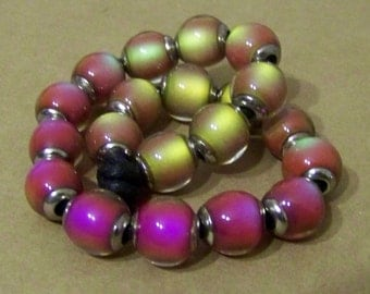 Strand 10mm  Mood Beads HOT PINK - 20 Beads