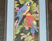 TROPICAL BIRDS Cross Stitch Kit from Dimensions. Gorgeous Macaws Designed by Karen Avery. Sealed. Black Background. Free Shipping to USA!