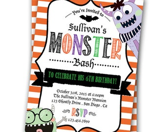 Halloween Invitation Monster Bash Invitation Halloween Birthday Invitation Costume Party Halloween Party 5x7 Invitation Monster Party