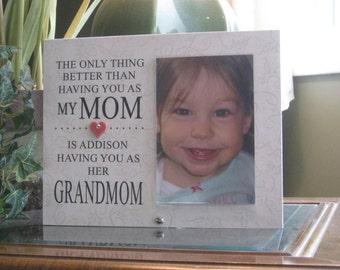 Grandmom Gift (SELECT ANY GRANDMOTHER Name), Grandmom  Frame, Grandmom Picture Frame, Grandmom  Photo Frame. 4x6 photo, Heart