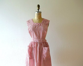 Striped vintage pinafore . red and white candy striper uniform