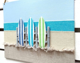 Surf Decor - Surfboard Decor - 3D Surf board Wall Decor - Surf Sign - Surf Canvas - Surf board Decor - Beach Decor - Caribbean Beach Sign