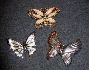 Vintage Butterfly Brooch Pins Silver & Gold All 3 Only 6 USD