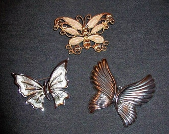 Vintage Butterfly Brooch Pins Silver & Gold All 3 Only 5.25 USD