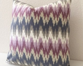 SALE Both sides, Purple and gray flame stitch ikat decorative pillow cover,  throw pillow