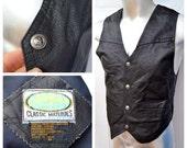 Vintage Paragraff Boys Black Leather MOTO Vest biker vest