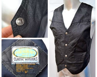 Vintage Paragraff Boys Black Leather MOTO Vest biker vest