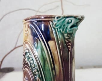 Antique Majolica Pitcher with Face and Tail - Dragon or Fish Pitcher - Antique Pottery Pitcher or Vase or Pencil Holder with Blue Gold Green