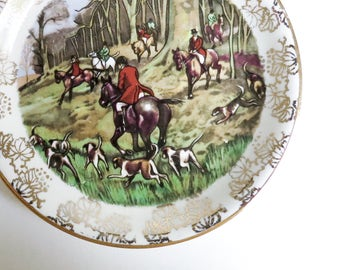 Midwinter Staffordshire Pin Dish, Butter Pat, Tea Bag Holder - English Hunting Scene with Red Jackets, Horses, Dogs - Gift for Her or Him
