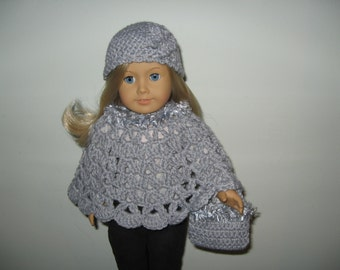 "Hand-Crocheted gray with gray fur trim 3 piece Poncho set for 18"" 18 inch Dolls will fit American Girl"