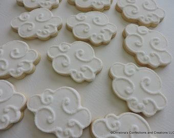 Fluffy Cloud cookies with sugared swirls - Great for Baby showers or pairing with other cookies (#2420)