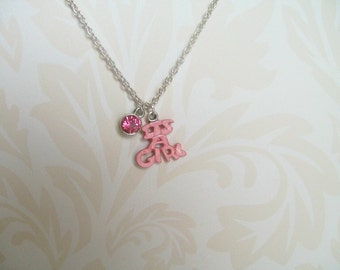 It's A Girl Necklace, Pink Girl Necklace, Baby Girl, Newborn, Birth Stone, Baby Celebration, Infant Jewelry, Baby Keepsake, New Mom