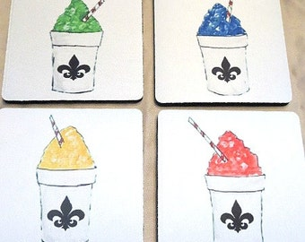 Snowball Coasters - New Orleans Coasters - Original Art Coasters - New Orleans Art - Drink Coasters - Absorbent Coasters - Table Coasters